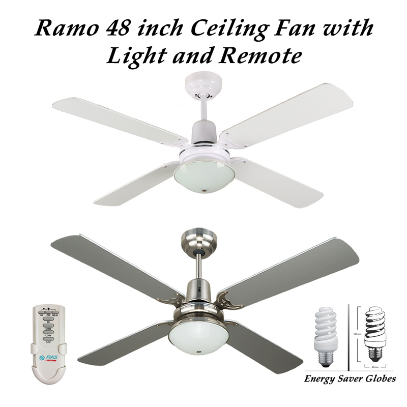 Ramo 48 inch 4 blade ceiling fan with light and remote control with ramo 4 blade ceiling fan with light and remote control in white or silver finish aloadofball Images