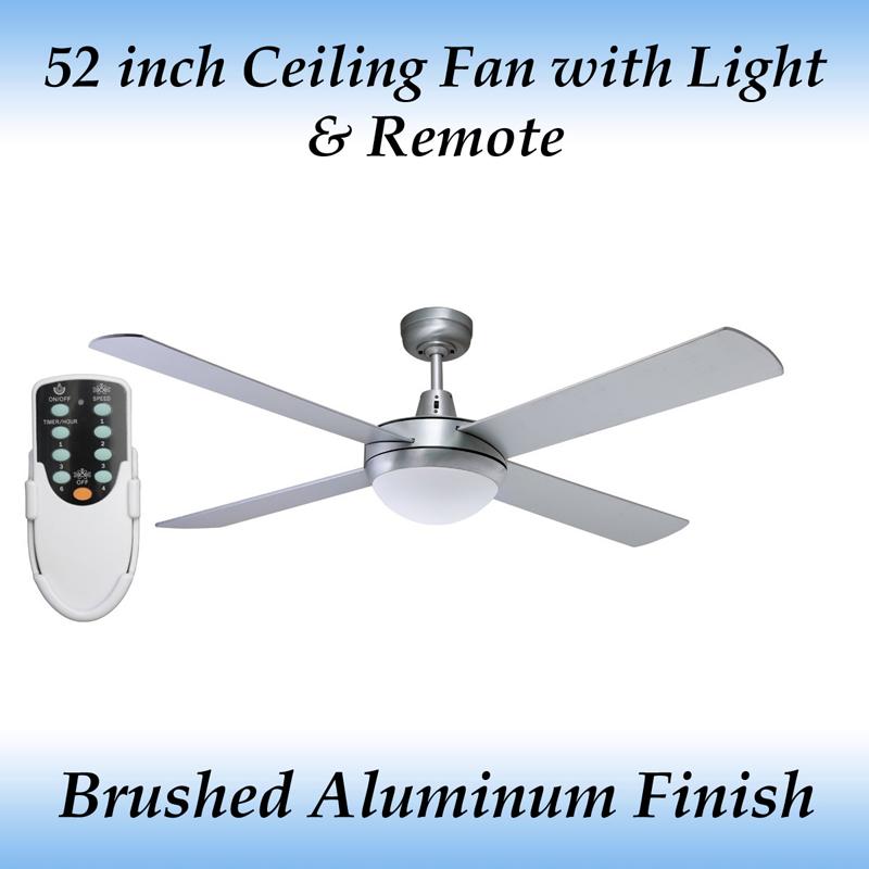 Fias genesis 4 blade 52 inch ceiling fan with light and remote ebay fias genesis 52 inch 1300mm 4 blade brushed aluminum ceiling fan with light remote aloadofball Gallery