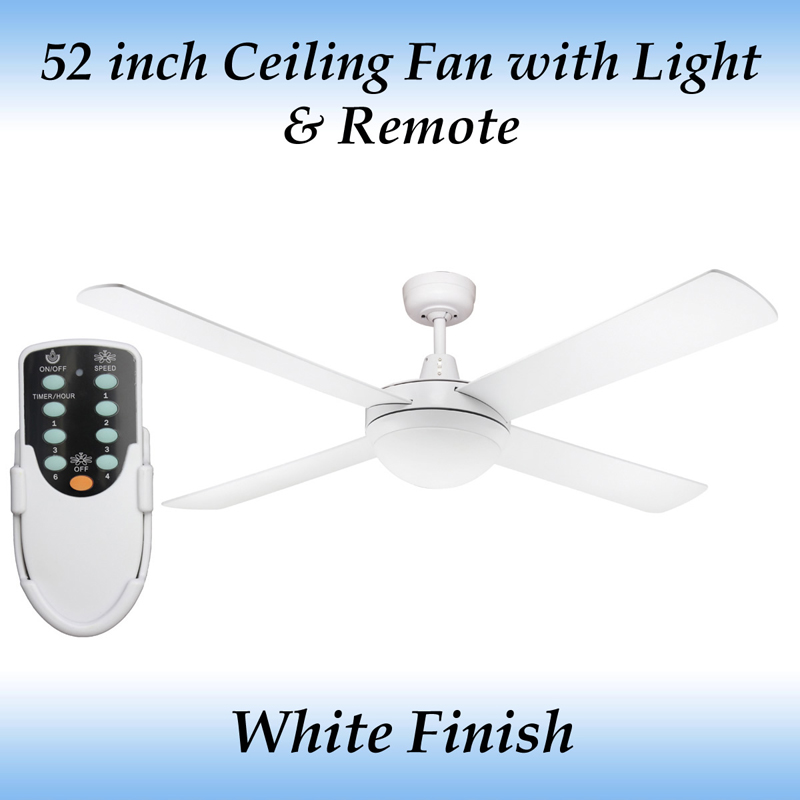 Fias Genesis 52 Inch 1300mm White Ceiling Fan With Light And