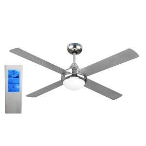 Revolve 48'' Ceiling Fan Brushed Chrome 2xE27 Light + WH Touch Pad Remote - REV48BL - TWHRem