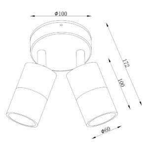 Anodized Titanium Exterior Double Adjustable - EXTDATA dimensions