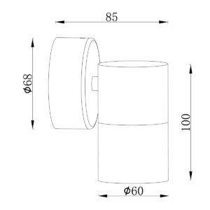 Anodized Titanium Exterior Fixed Single - EXTFDTA dimensions