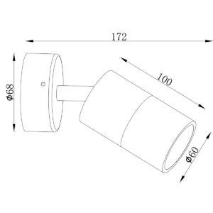 Anodized Titanium Exterior Single Adjustable - EXTSATA dimension