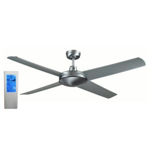 Genesis 52'' Brushed Aluminum Ceiling Fan with ABS Blades + WH Touch Pad Remote - GEN52B2 - TWHRem