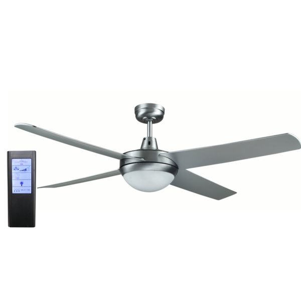 Genesis 52'' Brushed Aluminum Ceiling Fan with ABS Blades with Light + BL Touch Pad Remote - GEN52BL2 - TBLRem