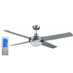 Genesis 52'' Brushed Aluminum Ceiling Fan with ABS Blades with Light + WH Touch Pad Remote - GEN52BL2 - TWHRem