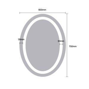 LED Oval Shape Mirror Light - Dimensions 75x60cm - MIR1006
