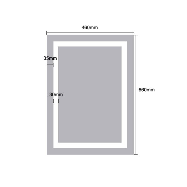 LED Rectangle Mirror Light - Dimensions 66x46cm - MIR1004