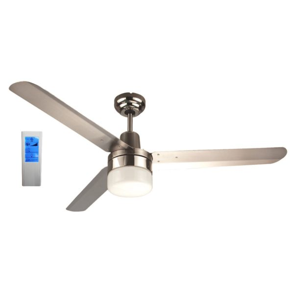 Sparky 48'' 3 Blade Silver Ceiling Fan with Light + WH Touch Pad Remote - SPARKY48SILWL - TWHRem