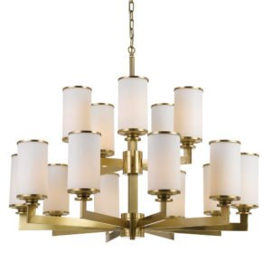 Ahern 15 Light Pendant in Brass Metal with Opal Glass