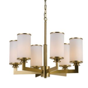 Ahern 6 Light Pendant in Brass Metal with Opal Glass