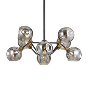 Annabel 8 Light Pendant in Black and Antique Brass with Smoke Glass
