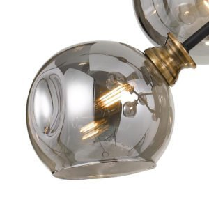 Annabel Pendant Light in Black and Antique Brass with Smoke Glass