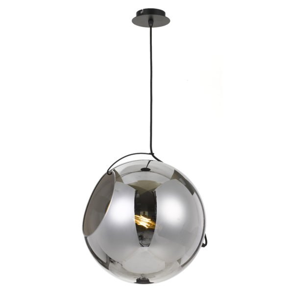 Bondi 400mm 1 Light Pendant in Black with Smoke Glass