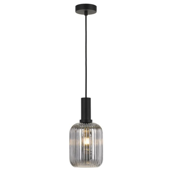 Bonura 140mm 1 Light Pendant in Black with Smoke Glass