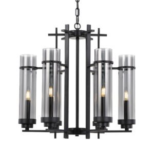 Burgess 6 Light Pendant in Antique Black with Smoke Glass