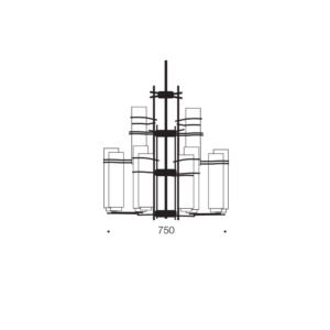 Burgess 12 Light Pendant in Antique Black with Smoke Glass