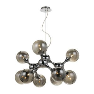 Cosmic 800mm 9 Light Pendant in Chrome with Smoke Glass