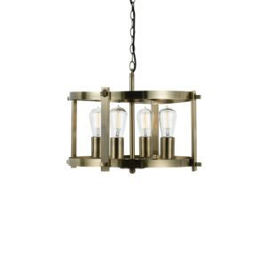 Finley 460mm 4 Light Pendant in Antique Brass