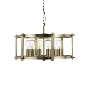 Finley 600mm 6 Light Pendant in Antique Brass