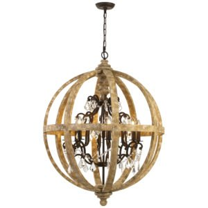 Florin 8 Light Pendant in Iron Wood with Clear Glass