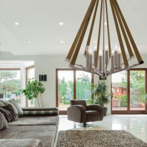 Graf 700mm 8 Light Pendant in Chrome and Ash