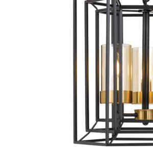 Lane 3 Light Pendant in Black and Antique Brass with Amber Glass