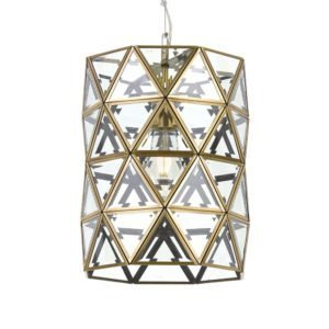 Lewis 260mm 1 Light Pendant in Antique Brass