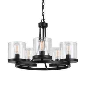 Largo 5 Light Pendant in Oil Bronze with Clear Glass