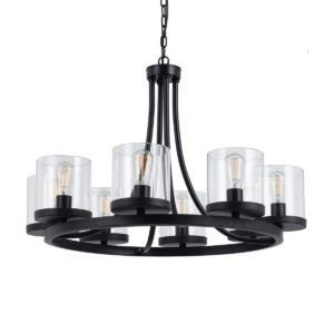 Largo 8 Light Pendant in Oil Bronze with Clear Glass