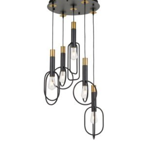 Marvin 5 Light Pendant in Antique Black and Gold