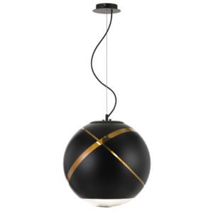 Matrix 400mm 1 Light Pendant in Black and Gold