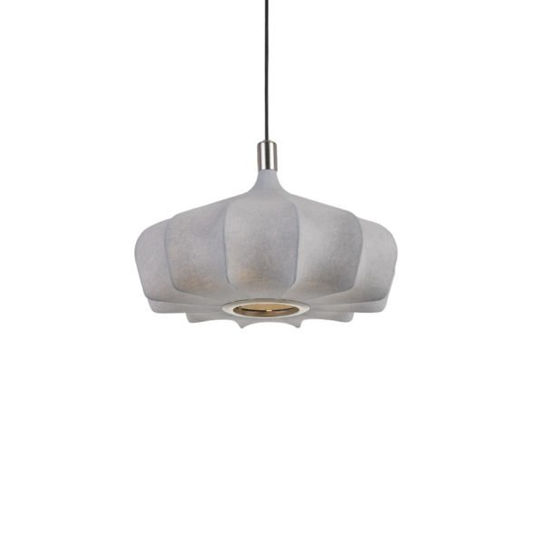 Mersh 400mm 1 Light Pendant in Nickel and Grey
