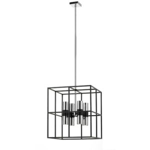 Nelson 1 Light Pendant in Matt Black and Chrome