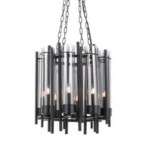 Tolga 8 Light Pendant in black and Antique Brass with Smoke Glass