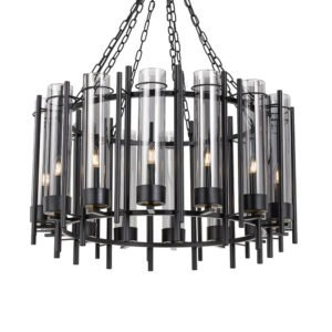 Tolga 14 Light Pendant in black and Antique Brass with Smoke Glass