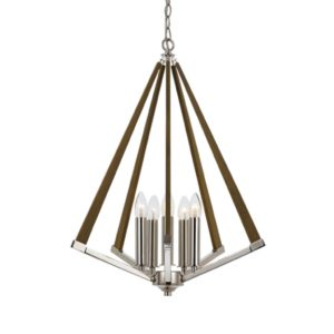 Graf 500mm 5 Light Pendant in Chrome and Ash
