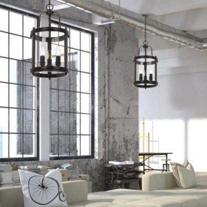 Newark 3 Light Pendant in Matt Black with Clear Glass