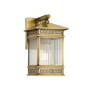 Avera Small IP44 Exterior Wall Light in Antique Brass