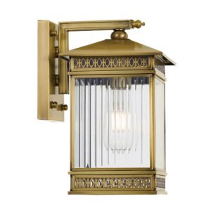 Avera Large IP44 Exterior Wall Light in Antique Brass