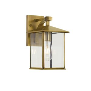 Coby Small IP44 Exterior Wall Light in Antique Brass