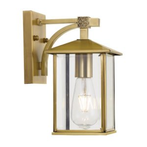 Coby Large IP44 Exterior Wall Light in Antique Brass