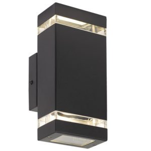 Dixon Up and Down IP44 Exterior Wall Light in Black