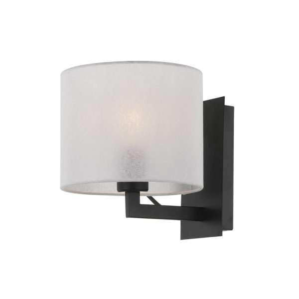 Elgar Wall Light in Satin Black with White Shade