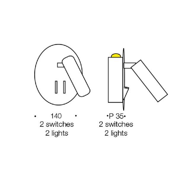 Esra 2 Switch 4 Watt LED Wall Light