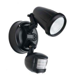 Illume 10 Watt Single Exterior Spot Light in Black with Sensor