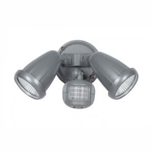 Illume 20 Watt Twin Exterior Spot in Silver Light with Sensor