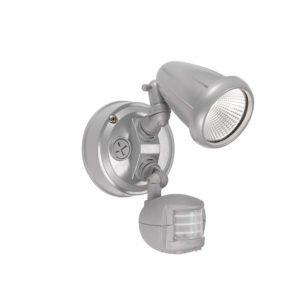 Illume 10 Watt Single Exterior Spot Light in Silver with Sensor