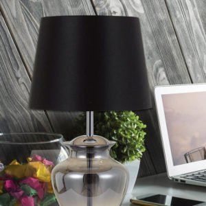 June Table Lamp in Chrome and Smoked Glass with Black Shade
