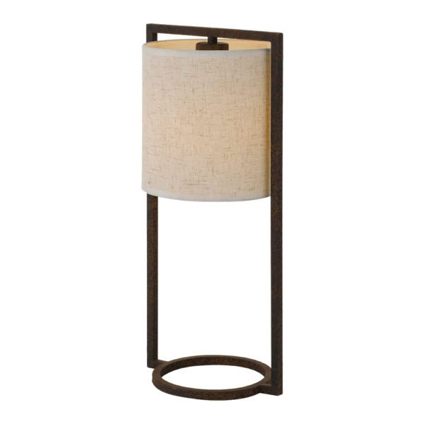 Loftus Table Lamp in Rusty Brown with Sand Shade